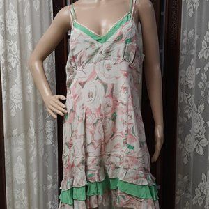 Kenzie Floral 100% Silk Midi Spring Dress NWT
